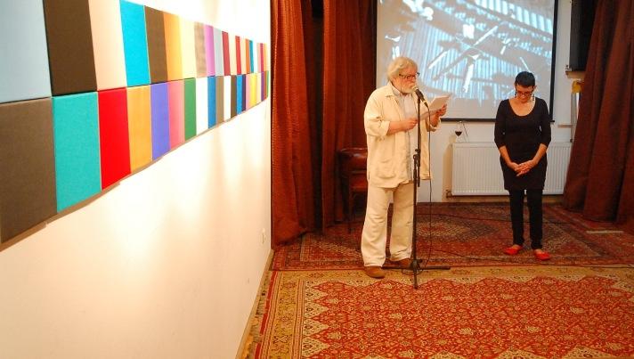 Nagy Bernadette Nyitott Műhely-beli kiállításának megnyitóján, 2013 májusában